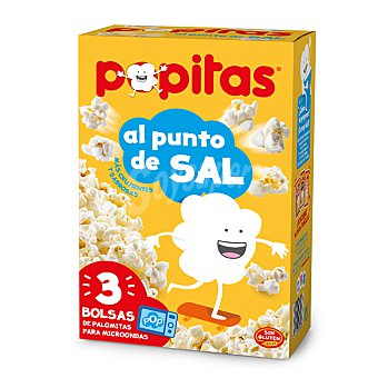 Popitas Borges Palomitas maíz sabor natural con sal para microondas de Borges Caja 3 paquetes x 100 g