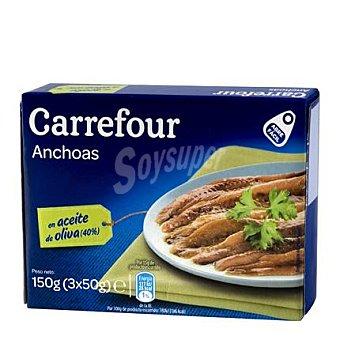 Carrefour Filetes de anchoa del Cantábrico en aceite de oliva Pack de 3x50 g