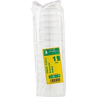 PLASCEPU Vaso vino plastico paquete 12 unidades 23 cl