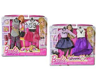 Barbie Pack con dos conjuntos de moda completos, ropa y accesorios 1 unidad