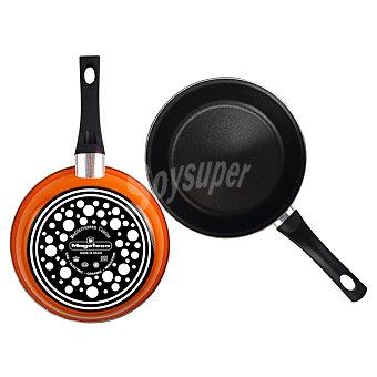 Magefesa Lote de 2 sartenes de acero esmaltado para inducción en color naranja de 20 y 24 cm