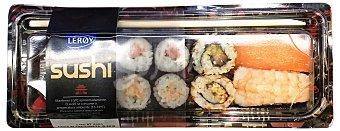 LEROY Sushi surtido (2 niguiri, 2 california ROLL,4 maki, soja, wasabi, jengibre Y palillos) Bandeja 8 unidades (165 g)
