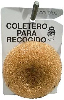 DELIPLUS Coletero cabello para recogido moño color castaño  1 unidad