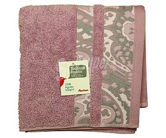 Auchan Toalla de algodón para lavabo, estamapado jacquard color lila, 50 x100 centímetros, densidad de 500 gramos/m² 1 Unidad