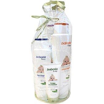 Babaria Baby macuto con jabón líquido muy suave con Aloe frasco 600 ml + leche corporal hidratante con Aloe frasco 400 ml+ crema protectora tubo 100 ml Frasco 600 ml