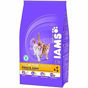 IAMS PROACTIVE NUTRITION Kitten & Junior Alimento completo para gatitos hasta 12 meses con pollo Bolsa 1,5 kg
