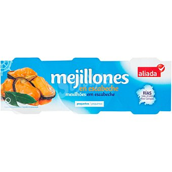 Aliada Mejillones de las rías gallegas en escabeche pack 3 lata 43 g neto escurrido Pack 3 lata 43 g