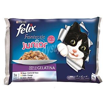Purina Felix Comida húmeda para gatos adultos Junior Pack 4 x 100 g