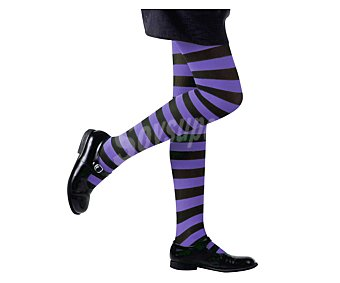 WIDMANN Medias infantiles 70 Den. a rayas violetas y negras para disfraz de bruja Halloween, talla única Medias Bruja