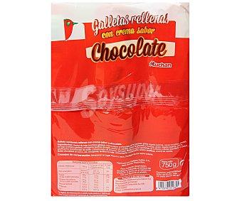 Auchan Galletas sandwich rellenas con crema sabor a chocolate Pack de 3 paquetes de 250 gramos