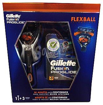 GILLETTE Lote hombre maquinilla afeitar Flexball Fusion Proglide + 3 recambio cargador 1 lote