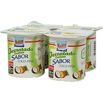 Kalise Yogur cremoso desnatado sabor coco-piña pack 4 unds. 125 g Pack 4 unds. 125 g