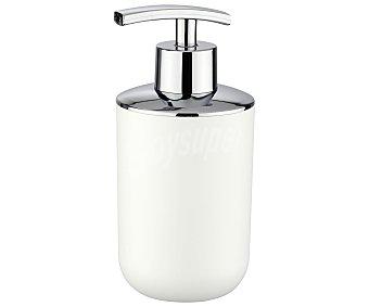 WENKO Dosificador de jabón, gel...fabricado en plástico de altísima resistencia y acero inoxidable. Color blanco, serie Brasil de diseño elegante y formas redondeadas 1 Unidad