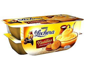 La Lechera Nestlé natillas sabor galleta  pack 4 unidades 115 g