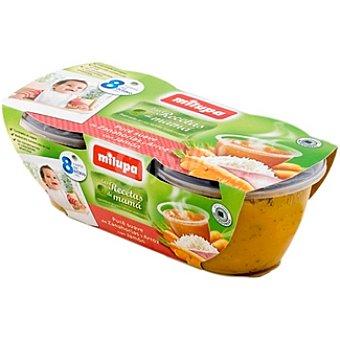 MILUPA LAS RECETAS DE MAMA Tarrito de puré suave zanahorias arroz jamón pack 2x200 g estuche 400 g Pack 2x200 g