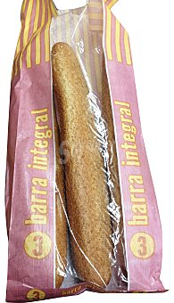MERCADONA Pan barra integral 3 unidades ( 630 g )