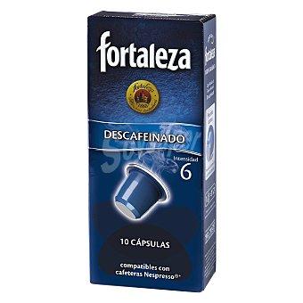 FORTALEZA Cafe descafeinado intensidad 6 caja 50 g compatibles con maquinas de cafe Nespresso 10 capsulas