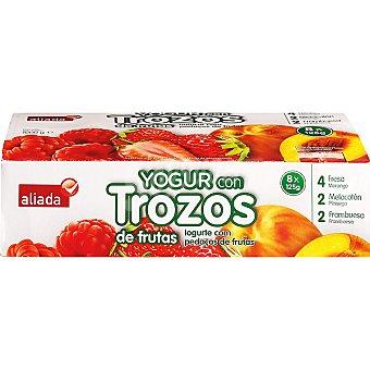 Aliada Yogur con trozos de frutas 4 fresa + 2 melocotón + 2 frambuesa Pack 8 unidades 125 g