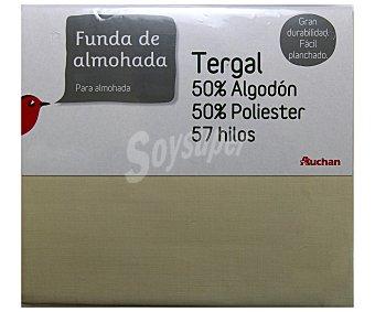 Auchan Funda de almohada color tierra, 135 centímetros 1 Unidad
