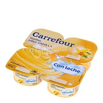 Carrefour Natillas sabor vainilla con leche - Sin Gluten Pack de 4x130 g