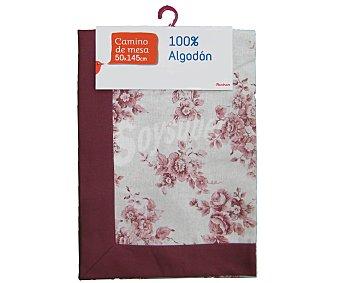 Auchan Camino de mesa estampado color rosa, algodón, 50x145 centímetros 1 Unidad
