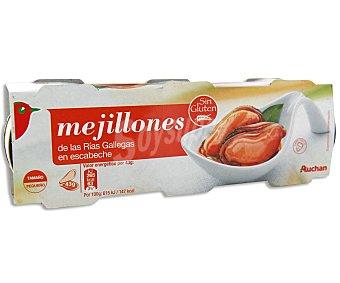 Auchan Mejillones escabeche Lata de 43 grs pack de 3