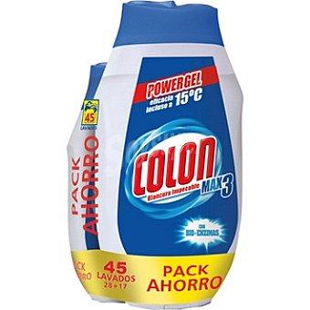 COLON MAX 3 detergente máquina líquido Power gel concentrado con bioenzimas + 17 dosis 45 lavados pack ahorro 28