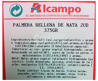 Bolleria Palmeras rellenas de nata 2 Unidades 375 Gramos 2u 375g