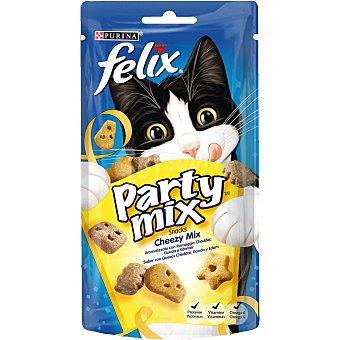 Purina Felix Party MIX Cheezy Mix snacks para gato con sabor a queso Cheddar, Gouda y Edam Envase 60 g