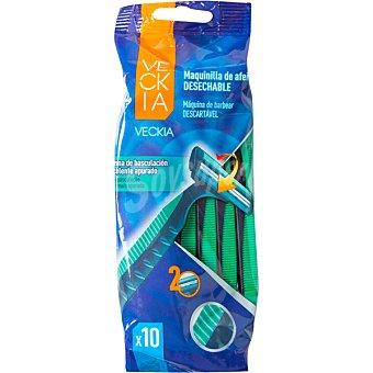 Veckia Maquinilla de afeitar desechable doble hoja con cabezal basculante Bolsa 10 unidades
