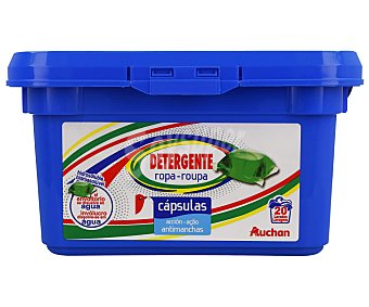 Auchan Detergente en cápsulas para lavadora, con acción antimanchas 20 uds