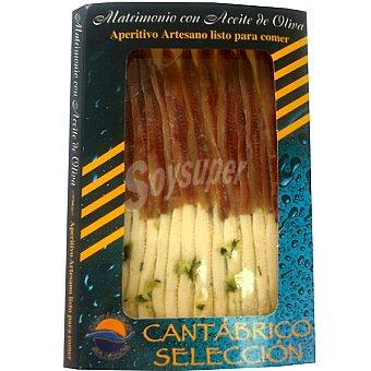 Cantábrico Selección Filetes de anchoas y boquerones en aceite de oliva producto artesano bandeja 110 g Bandeja 110 g