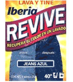 Iberia Lava y Tiñe Jeans Azul para recuperar el color de la ropa sobres Pack de 2x20 g
