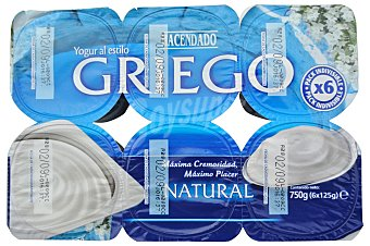 Hacendado Yogur griego natural Pack 6 x 125 g - 750 g