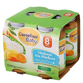 Carrefour Baby Tarrito de verduras con merluza Pack 4x250 g