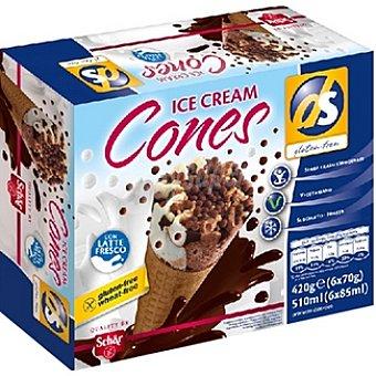 SCHAR DS Helados conos de crema 6 unidades sin gluten envase 420 g 6 unidades