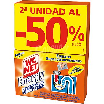 Wcnet Desatascador de tuberias lentas en polvo espuma desatascan Energy pack 2 caja 2 unidades (2ªunidad al 50%ya incluido en el precio) Pack 2 caja 2 unidades