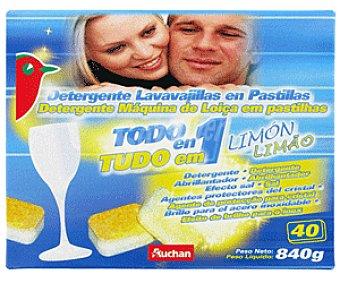 Auchan Detergente Lavavajillas Pastillas Todo en 1 Limón Lavavajillas Limón 40p