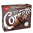 Conos de helado de chocolate, con trocitos de chocolate blanco Pack 6 x 90 ml Cornetto Frigo