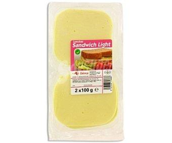 ABIBERICA Queso en lonchas, especial sándwich Light 2 Unidades de 100 Gramos