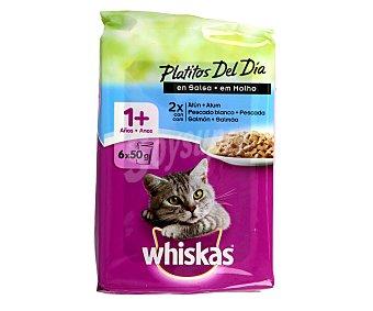 Whiskas Selección Pescado en Salsa Pack 6 u x 50 g