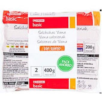 Eroski Basic Salchicha con queso Pack 2x200 g