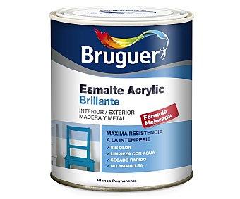 BRUGUER Esmalte decorativo acrílico, de color blanco permanente y acabado brillante 0,75 litros