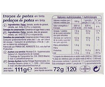 Auchan Trozos de pota en su tinta 111 gramos
