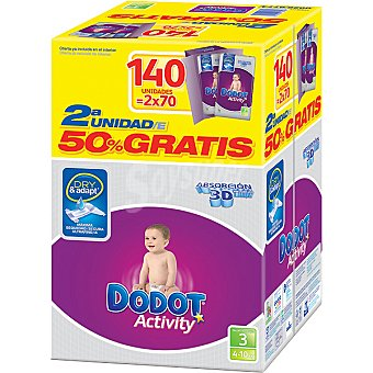 Dodot Activity Pañales de 4 a 10 kg talla 3 Absorción pack especial  (2ª unidad al 50% incluido en precio) 140 unidades