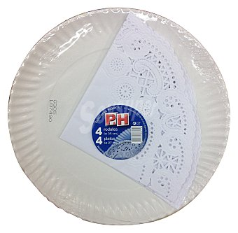 P & H Bandeja desechable cartón redonda 4 u x 27 cm + blonda papel blanco 4 u x 35 cm Paquete de 40 uds
