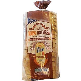 Hipercor pan de molde multicereales 100% natural con corteza 16 rebanadas  bolsa 460 g