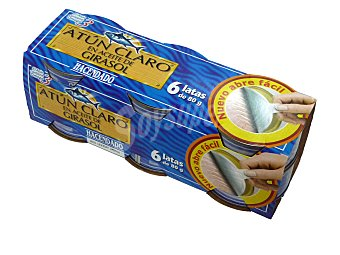 Hacendado Atun claro aceite vegetal girasol (abre facil solapin) Lata pack 6