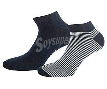 In Extenso Pack de 2 pares de calcetines invisibles para hombre color azul marino, talla 39/42.