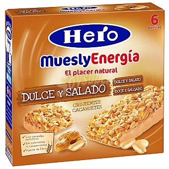 Hero MueslyEnergía Barritas de dulce y salado crujientes cacahuetes Pack 6x25 g